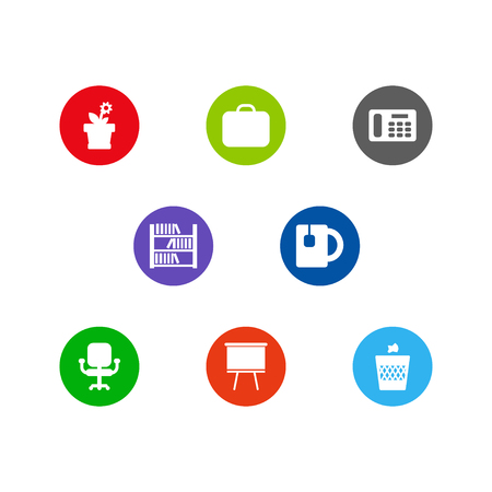 Set of icons with workplace concept Vectores