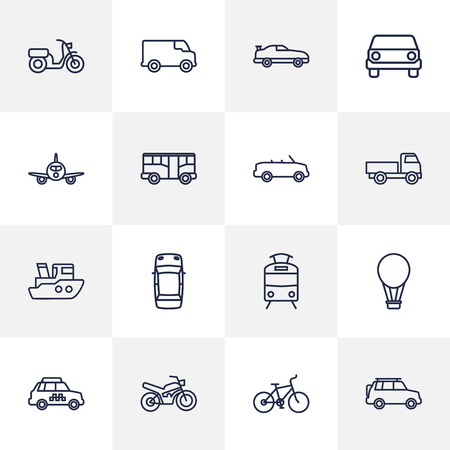Set of 16 vehicle icons vector illustration