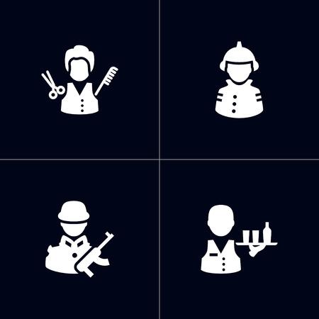 Set of 4 worker icons vector illustration 向量圖像