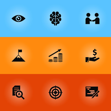 Set of 9 startup with business concept icons vector illustration