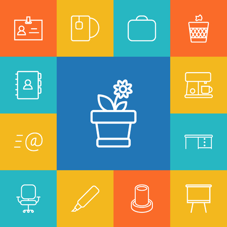 Set of work accessories icons vector illustration