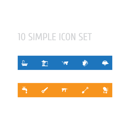 Set of 10 household work icons vector illustration