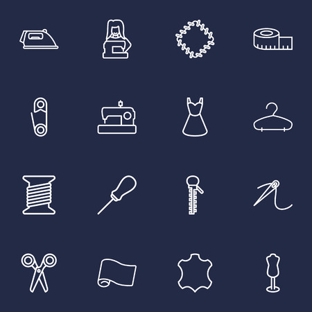 Set of 16 sewing outline icons vector illustration Vectores