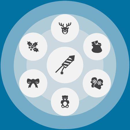 Set of 7 Christmas icons vector illustration Illustration