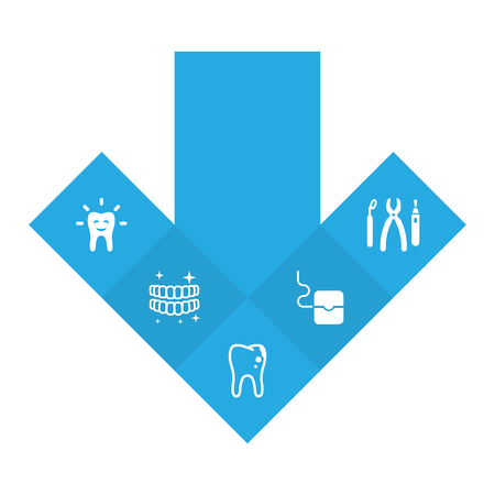 Set Of 5 Teeth Icons Set.Collection Of Instruments, Hygiene, Tooth And Other Elements. Illustration