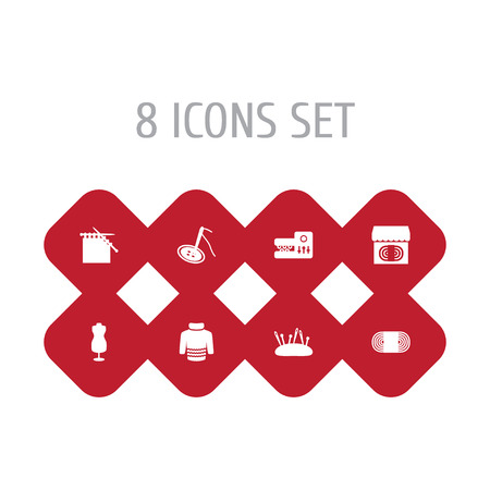 Set of 8 sewing icons vector illustration
