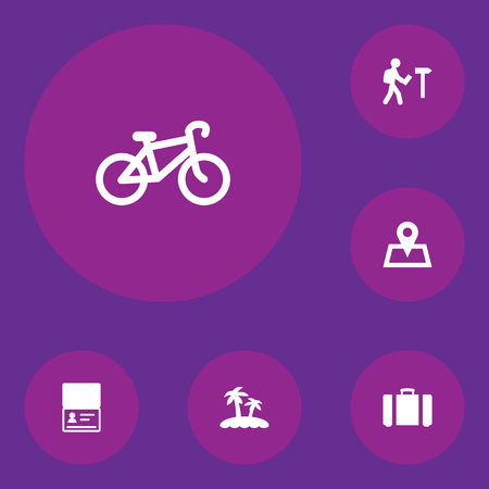 Set of 6 journey icons vector illustration