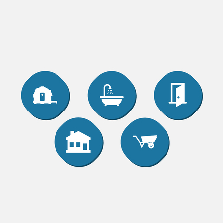 Set of 5 household works icons vector illustration