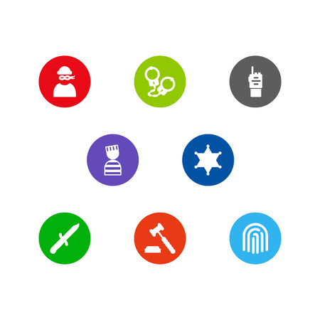 Set of 8 crime concept icons vector illustration
