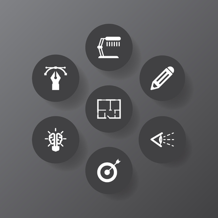 Set of 7 creative concept icons vector illustration