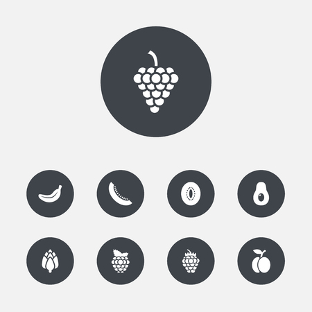 Set Of 9 Vitamin Icons Set.Collection Of Vineyard, Peeled, Dewberry And Other Elements. Illustration