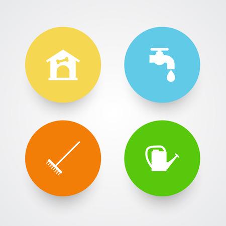 Set of gardening tools icons vector illustration Illustration