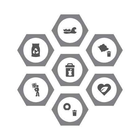 Set of conserving environment concept icons vector illustration Illustration