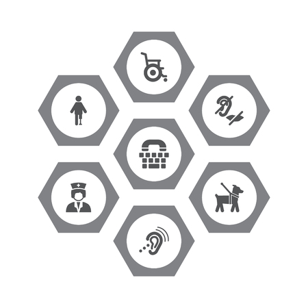 Set Of 7 Accessibility Icons Set.Collection Of Artificial Limb, Assistance, Listening Device And Other Elements. Illustration