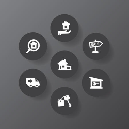Set of real estate concept icons vector illustration