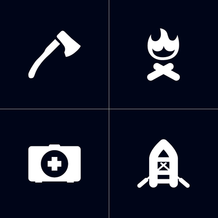 Set of 4 outdoor activity concept icons vector illustration Illustration
