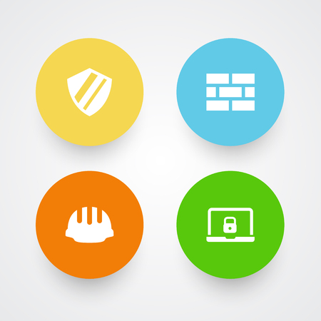 Set of 4 safety icons vector illustration
