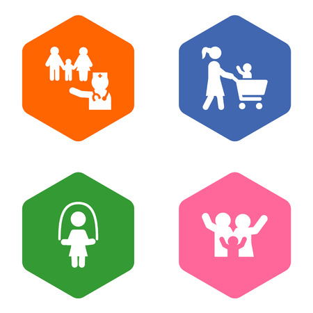 Set of people related icons on grey background Illustration