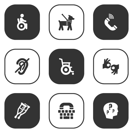 Set Of 9 Accessibility Icons. Illustration