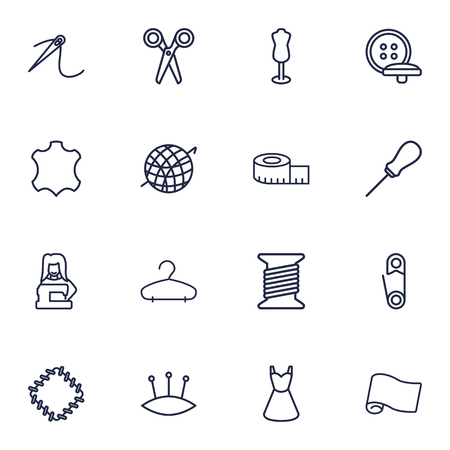 Set of sewing outline icons.