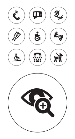 Set Of 10 Accessibility Icons Set.Collection Of Stand, Universal Access, Ramp Elements.