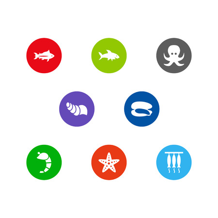 Set Of 8 Seafood Icons Set.Collection Of Smoked, Sink, Sea Star And Other Elements. Stock Photo