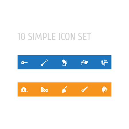 Set Of 10 Architecture Icons Set.Collection Of Hacksaw, Spade, Pipeline And Other Elements. Stock Photo