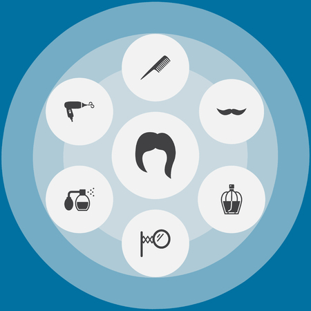 Set Of 7 Barber Icons Set.Collection Of Deodorant, Whiskers, Hairstyle And Other Elements. Illustration