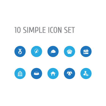 Set Of 10 Pets Icons Set.Collection Of Veterinarian, Medallion, Head And Other Elements. Illustration