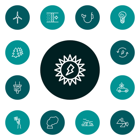 Set Of 13 Atmosphere Outline Icons