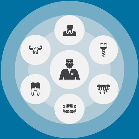 Set of dental concept icons.