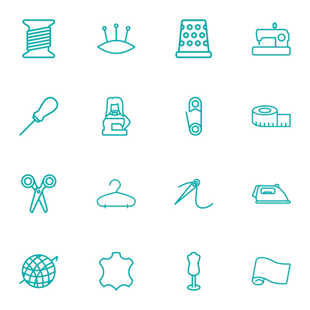 Set Of 16 Sewing Outline Icons Set.Collection Of Crochet, Needle, Scissors And Other Elements.