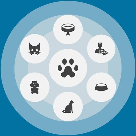 Set Of 7 Pets Icons Set.Collection Of Neckband , Veterinarian, Sitting Elements.