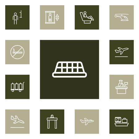 Set di 13 icone muta di aeroplano Set. Collezione di assegni di bagagli, taxi, non fumatori e altri elementi. Archivio Fotografico - 90944898