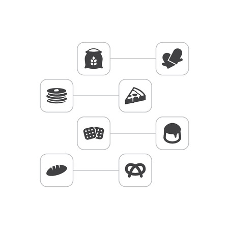 Set Of 8 Cooking Icons Set.Collection Of Pepperoni, Custard, Snack And Other Elements.