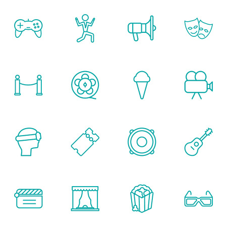 Set Of 16 Entertainment Outline Icons Set.Collection Of Game Controller, Film Role, Popcorn And Other Elements. Stock Illustratie