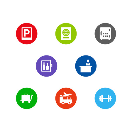 Set Of 8 Hotel Icons Set. Collection Of Strongbox, Barbell, Citizenship And Other Elements.