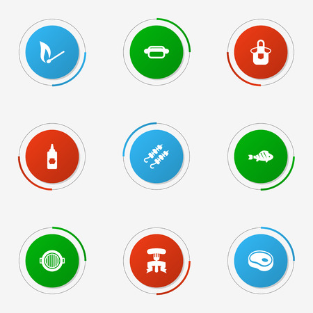 Set Of 9 Picnic Icons Set. Collection Of Restaurant, Matchstick, Ketchup Bottle And Other Elements.