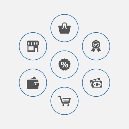 Set van 7 winkelen Icons Set. Verzameling van Billfold, procent, mand en andere elementen. Stockfoto - 90945270