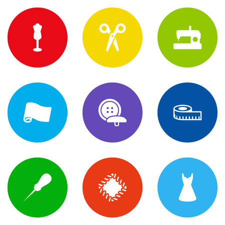 Set of round sewing concept icons.
