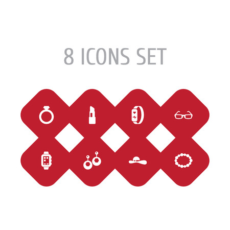 Set Of 8 Accessories Icons Set.Collection Of Sunglasses, Pomade, Eardrop And Other Elements.