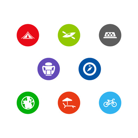 Set Of 8 Journey Icons Set.Collection Of Rucksack, Chaise Longue, Bike And Other Elements.