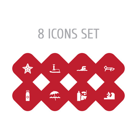 Set Of 8 Coast Icons Set.Collection Of Umbrella, Starfish, Lounge And Other Elements. Illustration