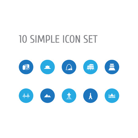 Set Of 10 Landmarks Icons. Ilustração