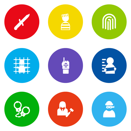 Set Of 9 Crime related Icons.