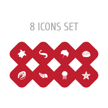 Set Of Seafood Icons Set.Collection Of Sea Star, Roe, Stingray And Other Elements. Illustration