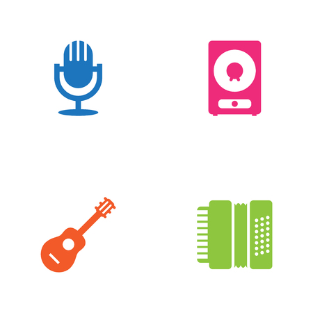 Set Of Song Icons Set.Collection Of Acoustic, Amplifier, Harmonica And Other Elements.