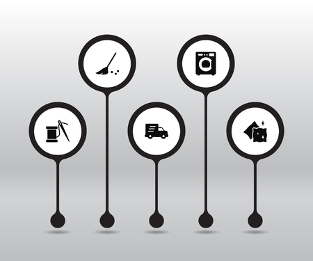 Set Of Cleanup Icons Set.Collection Of Besom, Sewing, Machine And Other Elements.