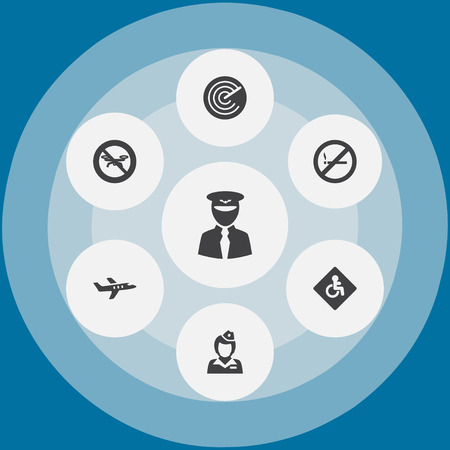 Set Of 7 Airplane Icons Set.Collection Of Forbidden, Hostess, Radiolocator And Other Elements.