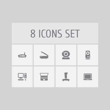Set Of 8 Notebook Icons Set.Collection Of Amplifier, Joystick, Computer And Other Elements. Illustration